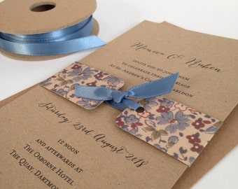 Rustic Invitation, Wedding Invitation, Rustic Invitation, Kraft Invitation, Handmade Invitation, Satin Bow Invitation SAMPLE