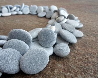 200 Beach Pebbles, Flat Stones, Beach Stones, Bulk Craft Pebbles, Grey Pebbles,  Small Stones, Stone Buttons, Smooth Pebbles