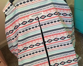 Baby Girl Car Seat Cover - Mint, Pink, Navy, Coral - Aztec - Tribal - Carseat Canopy