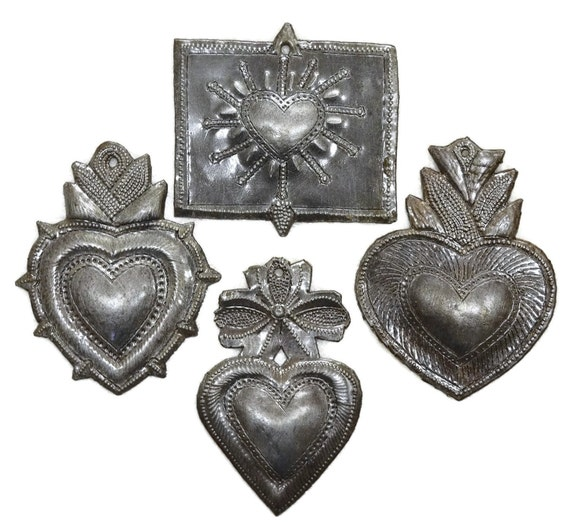 Milagro Sacred Heart, (set of 4) Haitian Metal , Recycled Art