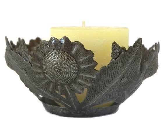 "Lighting, Sunflower Candle Holder  7"" x 3"" (candle not included)"