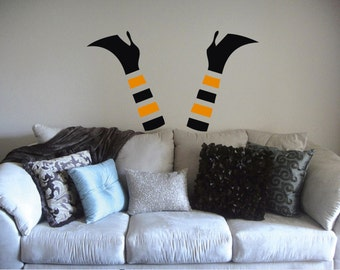Witch Legs Funny Wall Decal, Scary Halloween Decoration wicked boots