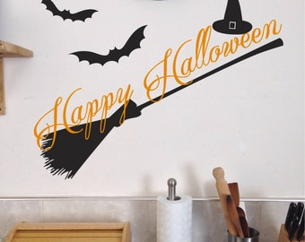Happy Halloween Witch Broom Decal, Scary Halloween Decoration wicked Bats