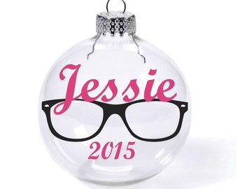 Glasses with Custom Name Date Glass Ball Christmas Ornament