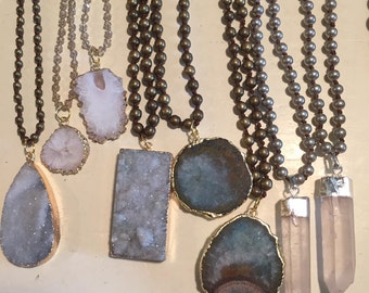 LISTING FOR J LAUGHLIN Stone on knotted gold beads