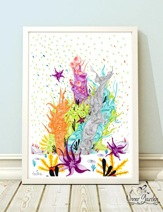 Items similar to sea wall art coral reef art kids decor for Coral decorations for home