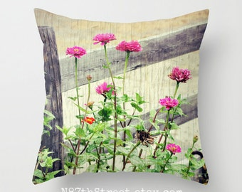 "ZINNIAS 16x16"" Pillow Cover. Photo Art by TMCdesigns. Farm, Country, Summer, Fall Flowers, Primitive, Rural, Rustic Home Decor. Hot Pink"