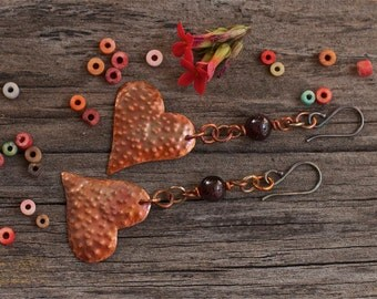 Copper earrings Copper jewelry Rustic earrings Patina copper Stone earrings Heart earrings Mixed metal earrings Metalwork earrings Copper