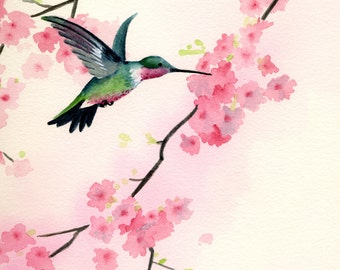"""Hummingbird Art Print - """"Cherry Blossoms"""" - Watercolor Painting - Signed by Artist DJ Rogers - Wildlife - Wall Decor"""