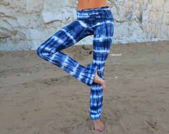 Hand Dyed Blue Yoga Pants , Striped Yoga Leggings