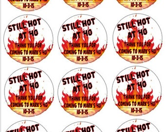Still HOT at 40!! Personalized 40th Birthday Labels - Hot Sauce Favors-