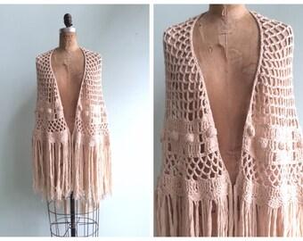 Vintage 1970's Crochet Fringe Shawl | Size OSFA