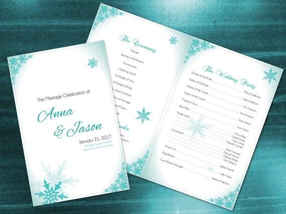 DIY Printable Wedding Program Card Template Editable MS Word