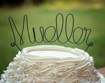 Wedding Cake Topper | Personalized Wedding Cake Topper | Wire Cake Topper | Custom Cake Topper | Black Wire Cake Topper | Rustic Wedding