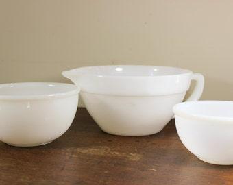 Batter Pitcher & 2 Nesting Mixing Bowls -Fire King / Milk Glass Set of 3