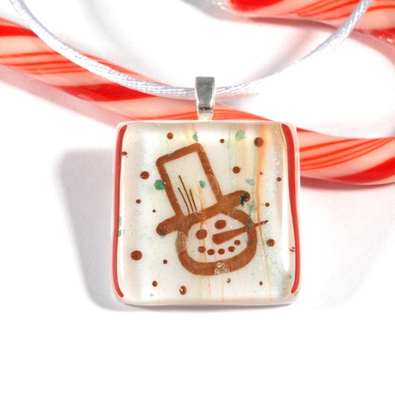 Red and White Frosty Snowman Pendant, Fused Glass Necklace, 1 Inch Square