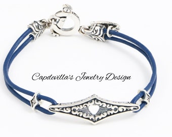 Sterling Silver and Blue Leather Bracelet