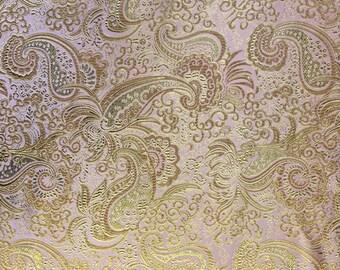 Pink / Gold Metallic Paisley Brocade Fabric