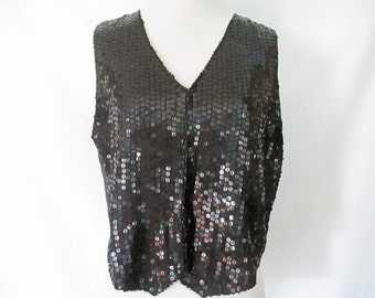 Sequin Vest 90's Sequin Top Black Sequined Vest Silk Lined Sparkly Shirt Vintage Glam
