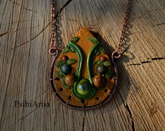 Polymer clay pendant Nature necklace Fairy tale necklace Forest necklace Fairy jewelry Wire wrapped pendant Polymer clay necklace Green leaf
