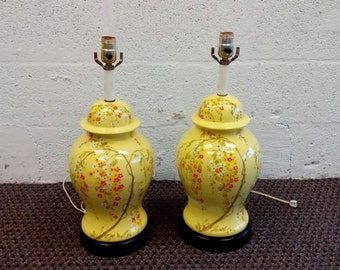 Pair of Vintage Ginger Jar Yellow Ceramic Lamps, Chinoiserie Lamps, Hollywood Regency Asian Style Yellow Lamps.