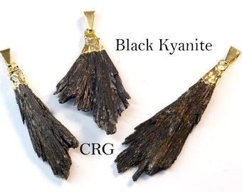 Gold Plated Black Kyanite Crystal Fan Pendant (FN10BT)