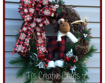 Rustic Moose Wreath, Moose Wreath, Rustic Wreath, Winter Moose Wreath, Winter Decor, Christmas Decor, Holiday