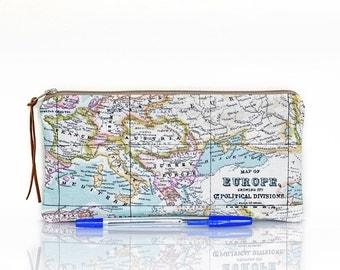 Map pencil bag, Europe pencil case, World map pouch, Makeup bag, School Gadget pouch, Teacher gift, Make Up organizer, Cosmetic case, Globe