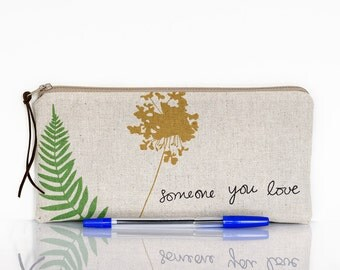Love pencil case, Zipper pouch, Make up bag, Text, Butterfly, Mothers day gift, School supplies, Makeup, Gadget pouch, Cosmetic case