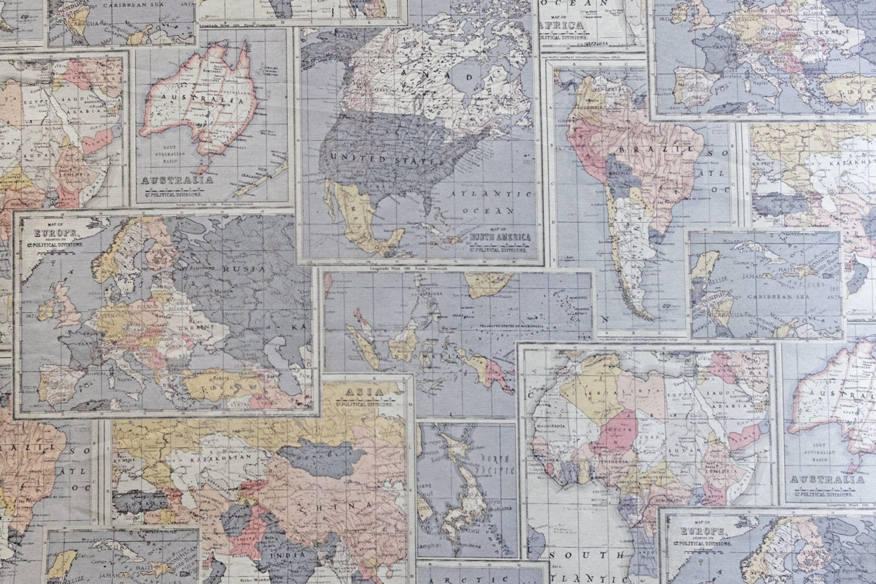 Remnant map fabric world map fabric atlas cotton upholstery 761 shipping sciox Choice Image