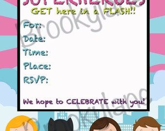 Boy/Girl Superhero Invitation, Superhero Birthday Invitation, Superhero Birthday Party, Instant Download, Printable