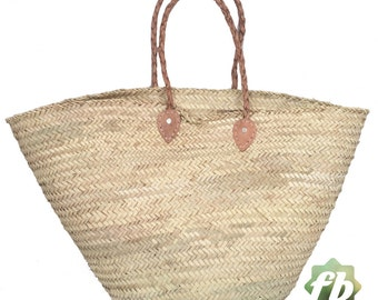 Natural French Basket Handle leather French Basket Moroccan