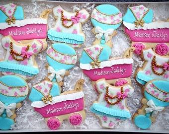 Shabby Chic Baby Girl Shower Favor Custom Cookies
