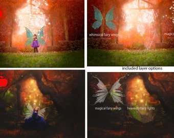 Digital Backdrops Bundle - Price Saver Pack, Premium fine art Fairy theme backgrounds PSD for photographers, Enchanted Forest & Heavens Gate