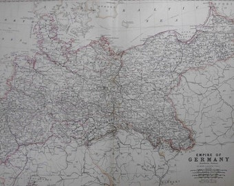 1872 Map Germany, German Empire (Northern Portion). Large Antique Engraved Map by Johnston.