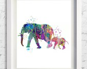 Elephant Family  Art Print Watercolor Painting Wedding Gift idea Wall Art Giclee Nursery Home Decor Wall Hanging [ No 96]