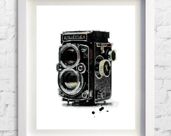 Rolleiflex Print,Rolleiflex camera,Camera Print,Painting,Watercolor,Pic no 102