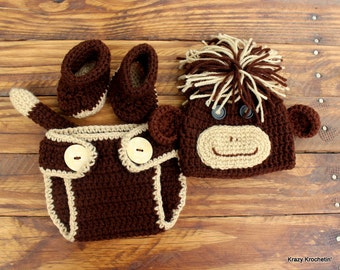 Crochet Infant Monkey Set - Hat, Diaper Cover, Booties - Size 0-3 months