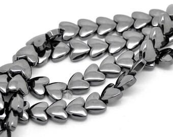 Heart Shaped Hematite Bead, 8mm x 8mm, 25 count, (HEMATITE-1)