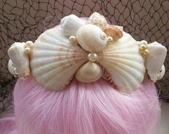 Mermaid crown handmade with natural sea shells