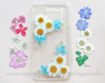 Pressed Flower Samsung Galaxy S6 Edge Case, Real Flower Samsung Galaxy S6 Case, Handmade Natural Flower Galaxy S7 Case Dried Flower S5 Case