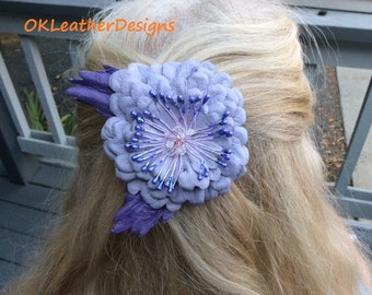 Lavender Handmade Leather Flower Hair Clip/Brooch with Purple Leaves