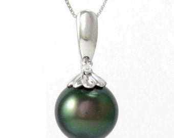 10-11mm Tahitian Black Pearl 0.65g 925 Sterling Silver Pendant SFP302763STA