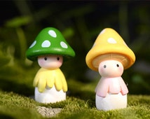 4pcs 12*35mm Mini cute mushroom girl mix colors /miniature mushroom/ terrarium decor/10566