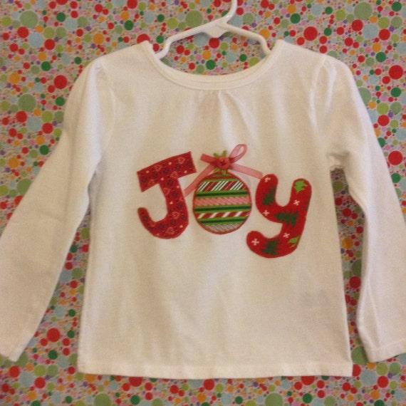 Toddler girl's long sleeve JOY appliqué  Christmas top