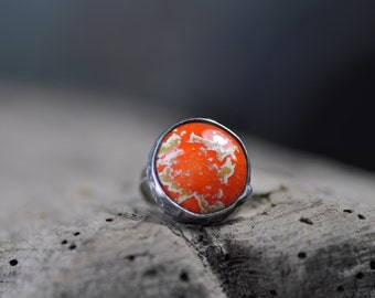 Ceramic adjustable ring  ceramic jewelry boho style handmade by zolanna best gift for her zolanna bohemian jewelry ready to ship orange ring