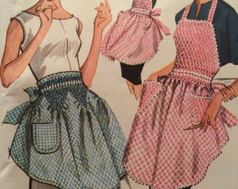 Mint Vintage Smocked Apron Pattern McCalls 6664