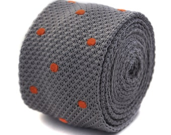 grey knitted tie with orange spots by Frederick Thomas FT2052