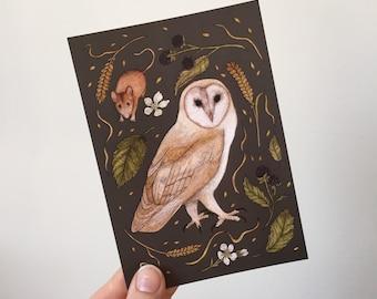 Barn owl A6 postcard