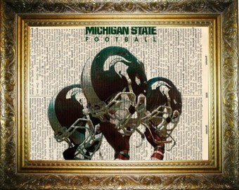 Michigan State Spartans football dictionary art 8x10, on  upcycled vintage dictionary page 8x10